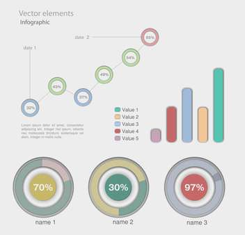 Infographic vector graphs and elements - Free vector #129327
