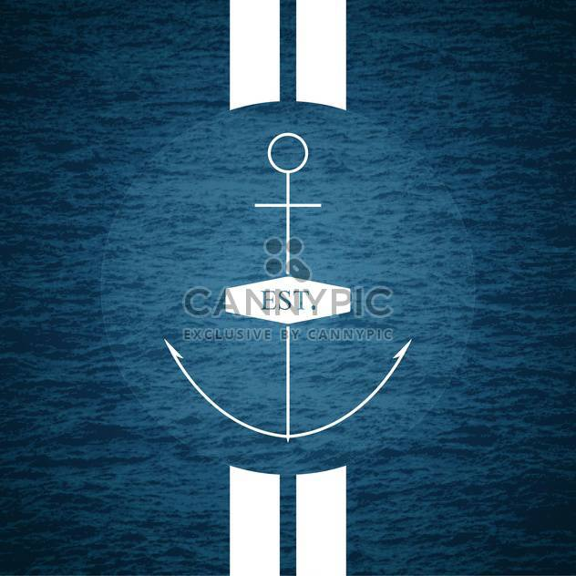 Vector illustration of anchor on sea background - Free vector #129337