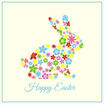 Vector Happy Easter greeting card with floral bunny - бесплатный vector #129347
