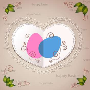 Vector Easter greeting card with heart and eggs - Kostenloses vector #129387