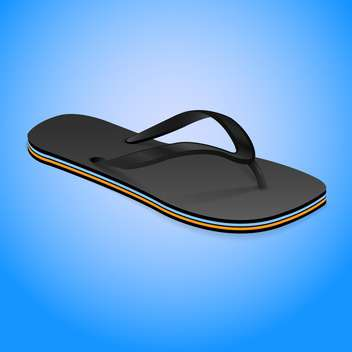 Vector illustration of black slipper on blue background - vector gratuit #129417