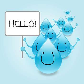 Vector Illustration of water drops cartoon characters holding Hello sign - Free vector #129427
