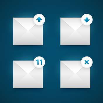 Vector four email icons set on blue background - vector gratuit #129447