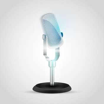 Vector illustration of retro microphone on gray background - vector gratuit #129487