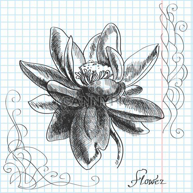 Vector hand drawn illustration of flower on checkered paper background - Free vector #129497