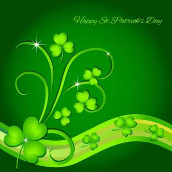 Vector green St Patricks Day greeting card with clover leaves - бесплатный vector #129537