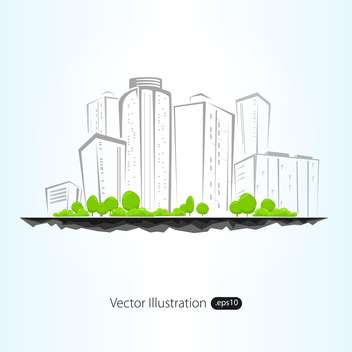 Vector illustration of sketch architectural buildings with trees - vector gratuit #129597