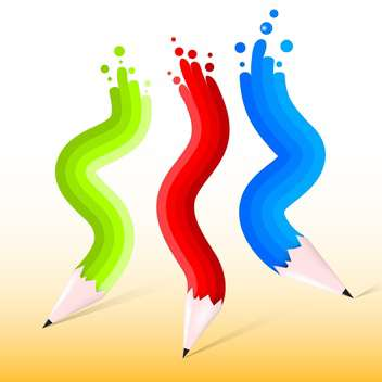 Vector illustration of green, red and blue pencils - vector gratuit #129617