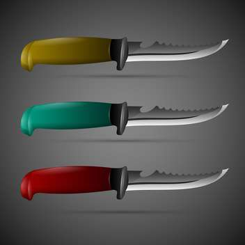 Vector set of three knives on dark background - Free vector #129657