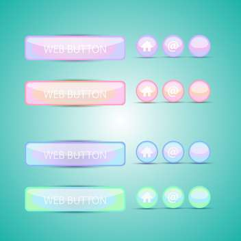 Vector set of colorful web buttons on green background - vector gratuit #129747