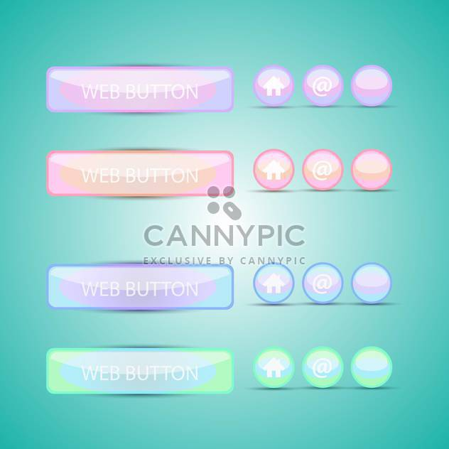 Vector set of colorful web buttons on green background - Free vector #129747