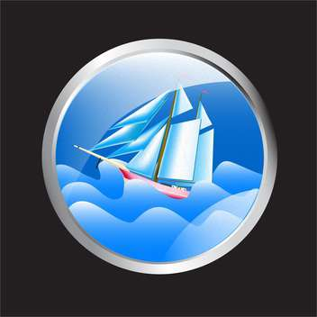 Vector illustration of porthole overlooking the sea and cruise ship - vector gratuit #129807