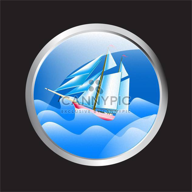 Vector illustration of porthole overlooking the sea and cruise ship - Free vector #129807