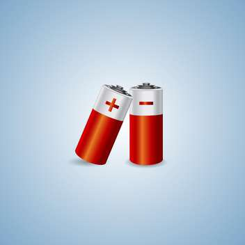 Vector illustration of two batteries on blue background - vector gratuit #129837