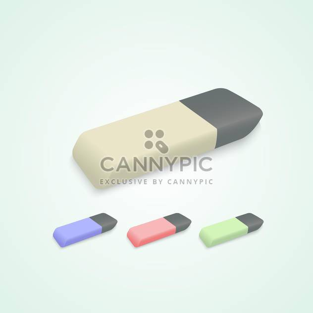 Vector set of erasers on light green background - Free vector #129847
