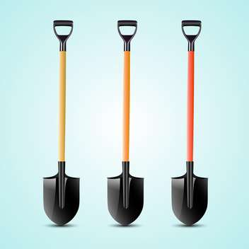 Vector illustration of three shovels on blue background - vector gratuit #129857