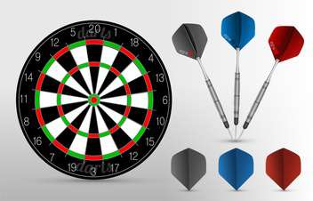 Vector dartboard with three darts on gray background - бесплатный vector #129877