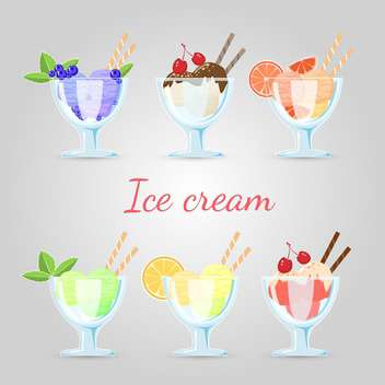 Vector set of different ice cream - Free vector #129907