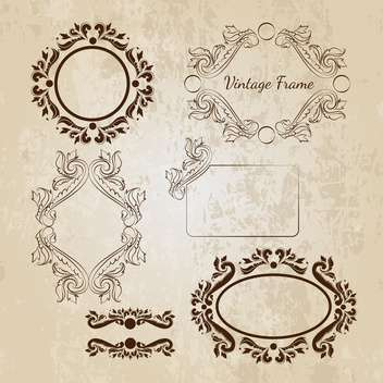 Set of vector ornamental vintage frames - vector gratuit #130017