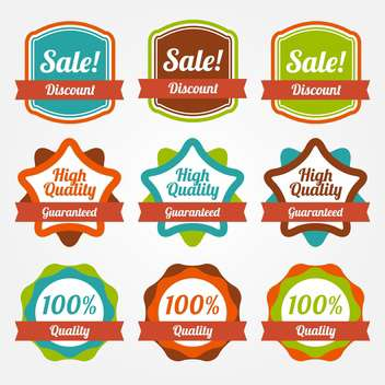Collection of colorful vintage labels for sale - vector gratuit #130037