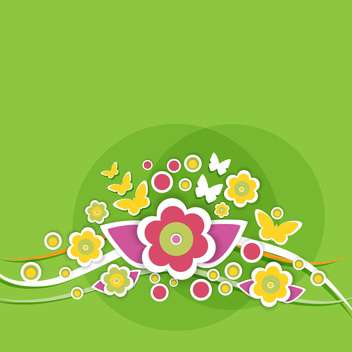 Spring floral background with butterflies and flowers - Free vector #130047