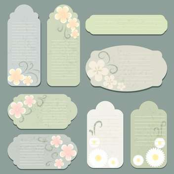 Vector set of vintage labels with flowers - vector gratuit #130057