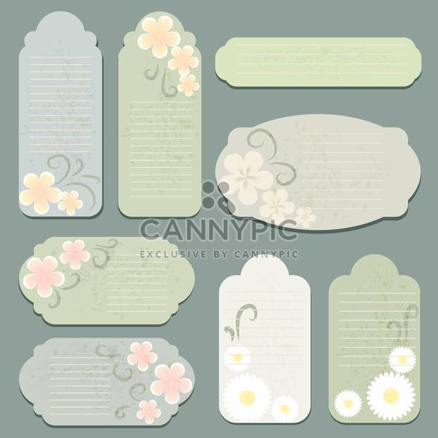 Vector set of vintage labels with flowers - Free vector #130057