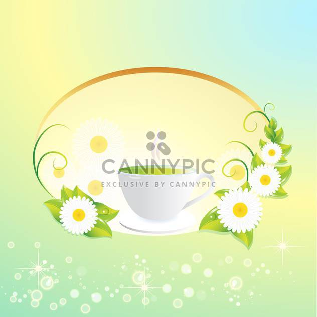 Vector background with tea cup and flowers - Kostenloses vector #130067