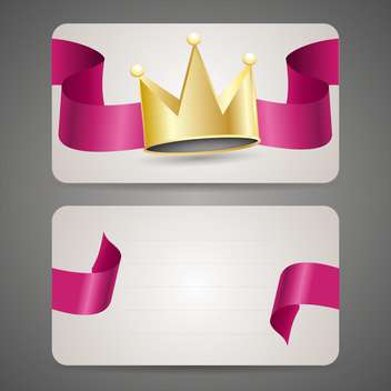 Business card with crown and pink ribbon - бесплатный vector #130087