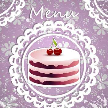 Birthday background with yummy cherry cake - vector gratuit #130137