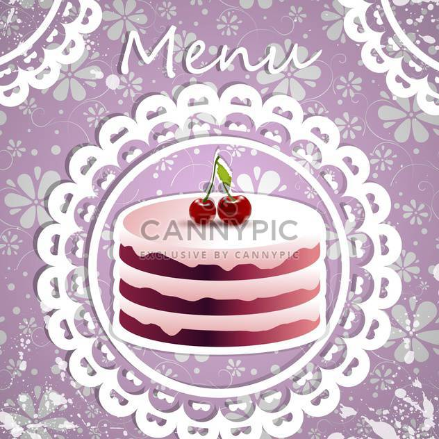 Birthday background with yummy cherry cake - Free vector #130137