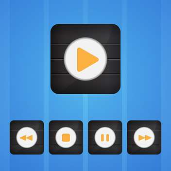 Vector set of player buttons on blue background - vector #130157 gratis