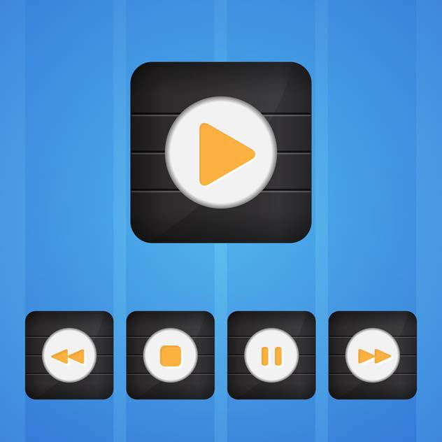 Vector set of player buttons on blue background - Free vector #130157