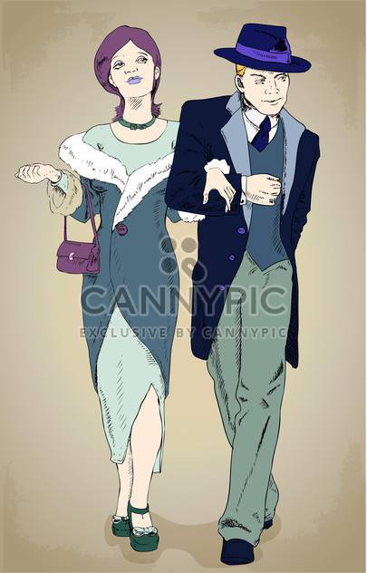 Vector illustration of couple wearing in retro style - Free vector #130207