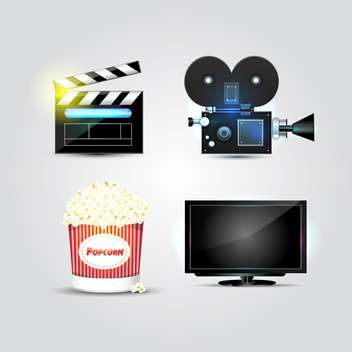 Set with cinema and movie vector icons, isolated on white background - vector gratuit #130457