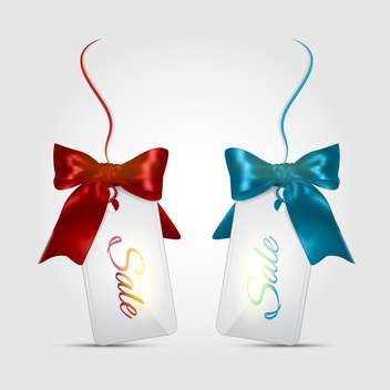 Vector sale labels with blue and red bows on top, isolated on white background - vector gratuit #130477