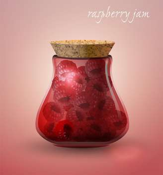 vector raspberry jam in bottle - бесплатный vector #130487