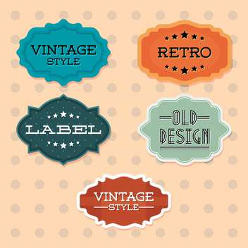 Vector vintage retro colorful labels on doted background - Free vector #130537
