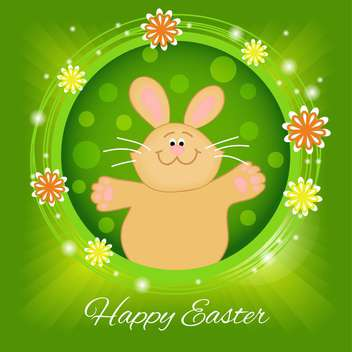 Happy Easter greeting card with floral pattern and rabbit - Free vector #130577
