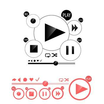 Round media player buttons and red audio player isolated on white background - Free vector #130607