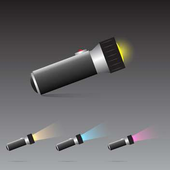 vector set of flashlights on grey background - Kostenloses vector #130617