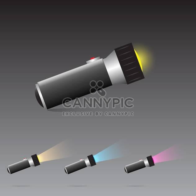 vector set of flashlights on grey background - Free vector #130617