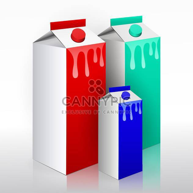 vector collection of colorful milk boxes on white background - Free vector #130657