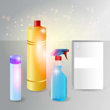 vector illustration oof colorful domestic tools for cleaning on grey background - vector gratuit #130767