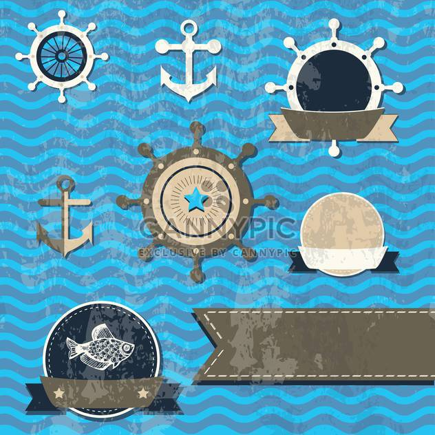 Vector set of sea fauna and marine things - Free vector #130787