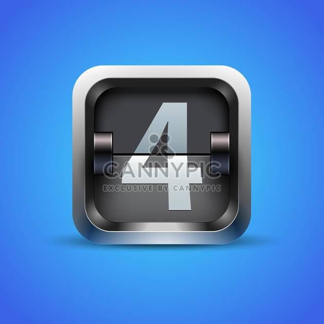 number four on mechanical scoreboard alphabet on blue background - Free vector #130837