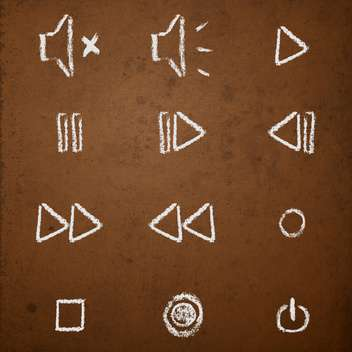 Vector set of hand drawn chalk on blackboard media player buttons - бесплатный vector #130907