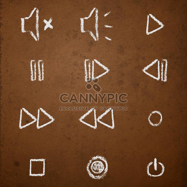 Vector set of hand drawn chalk on blackboard media player buttons - Free vector #130907
