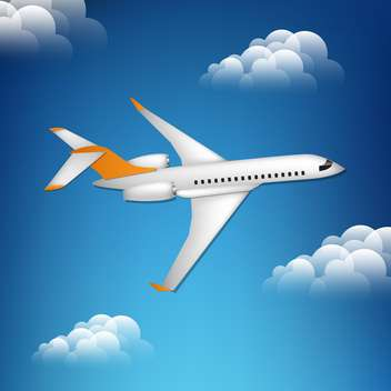 Illustration of airplane in the blue sky - Free vector #130967