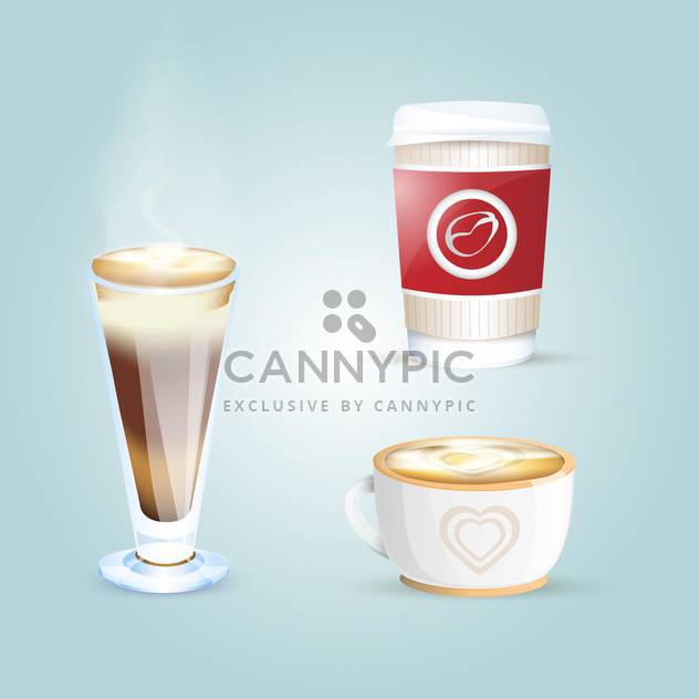 Vector set of different coffee cups on blue background - бесплатный vector #131097